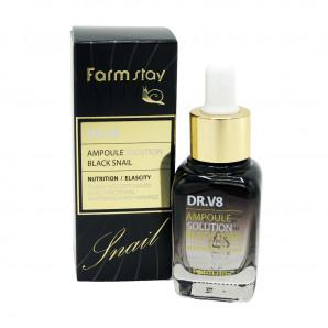 Ампульная сыворотка для лица с муцином черной улитки | DR.V8 Ampoule Solution Black Snail Farm Stay 30мл