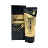 Маска-пленка с коллоидным золотом и муцином улитки  | 24K Gold Snail Peel Off Pack Farm Stay 100г