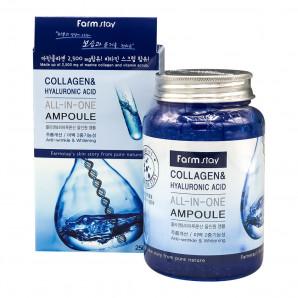 Ампульная сыворотка для лица с коллагеном и гиалуроновой кислотой (collagen & hyaluronic acid) Farm Stay | Фарм Стэй 250мл