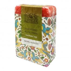 Аюрведическое мыло с куркумой и алоэ вера (ayurvedic soap) Indibird | Индибёрд 100г