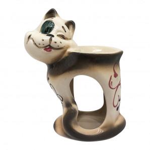 Аромалампа для эфирных масел «Кот с сердечком» керамика