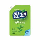 LION Chamgreen 1.2kg spout refill Жидкость для мытья посуды с ароматом зеленого чая